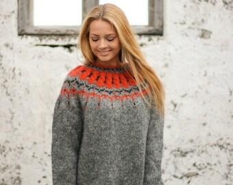 Handmade sweater from pure Icelandic wool