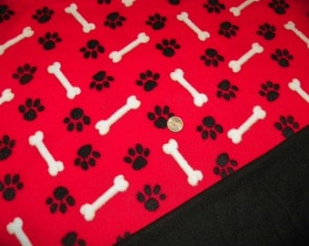 Dog Blanket Red with White Bones  with a Black Backing