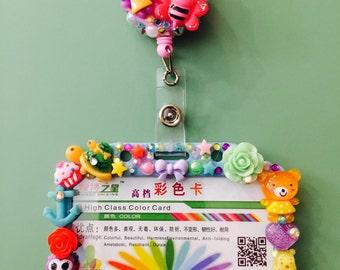 CUSTOM - Maria - ID Badge Holder - Decoden Decorated - Rainbow Assortment