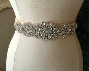 Bridal Sash - Wedding Dress Sash Belt - Crystal Rhinestone Wedding Sash - Blush Rhinestone Bridal Sash