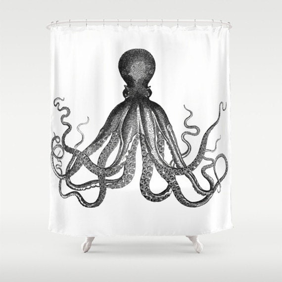 Octopus Shower Curtain Antique Octopus Kraken Sea Monster