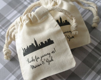City Skyline Wedding Favor Bags 3x4 and 4x6 double drawstring muslin bags. New York, San Francisco skyline personalized on cotton muslin bag