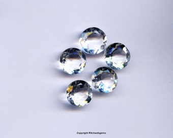 Natural Semi Precious 10 mm Faceted Round Brilliant Crystal Quartz For One