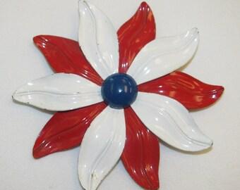 Vintage Red White & Blue Enamel Flower Brooch/Pin