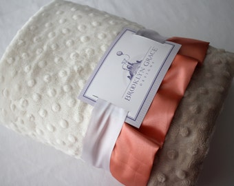 Dimple Dot Minky Baby Blanket in Ivory and Taupe Beige with Peach Satin Trim - Baby Girl, Crib Bedding, Infant and Toddler