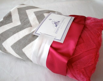 Gray and White Chevron with Solid Hot PInk Embossed Chevron Minky and Hot Pink Satin Trim - Baby Shower, Girls, Crib Bedding