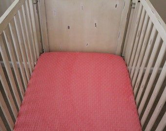 Coral Minky Dot Crib Sheet,  Baby, Toddler, Crib Bedding