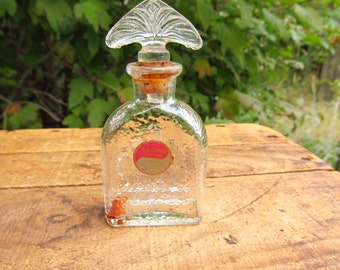 Vintage Magenta Perfume Bottle - Karoff Distributer - Cork Top Perfume Bottle
