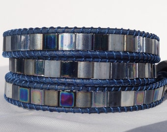 Silver, grey & blue 3 wrap bracelet-Leather 3 wrap bracelet-Bohemian/boho wrap bracelet-Tila bead triple wrap ladder bracelet