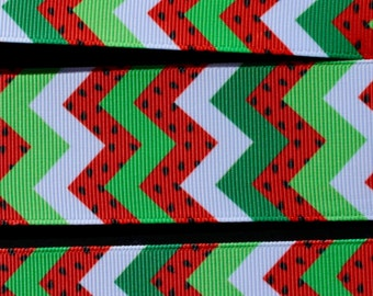 """1.5"""" Printed Grosgrain Ribbon by the Yard, Chevron Ribbon Watermelon Ribbon for Crafts or Gifts"""