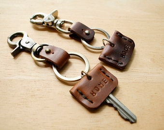 2x Leather Key Cap, Key Sleeve, Key Identifier, Key Topper, Groomsmen Gift, New Homeowner Gift, Key Accessories, Key Pouch,Gift for Him Her