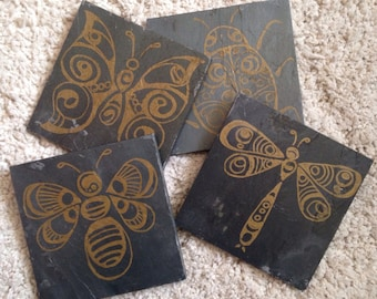 Gold Insect bumble bee, butterfly, dragonfly Slate Coasters - set of 4