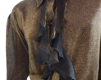 Black-Golden blouse with fringe