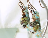 REDUCED!  Water Nymph Lampwork and Copper Artisan-made Earrings