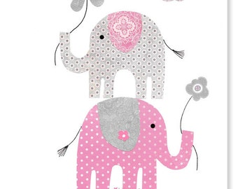 Gray and Pink Elephant Nursery Decor Girl's Room Decor Baby Shower Gift Toddler Flowers 8 x 10 or 11 x 14 Print