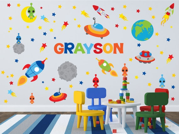 Space theme wall decals outer space room name wall decal for Outer space vinyl wall decals