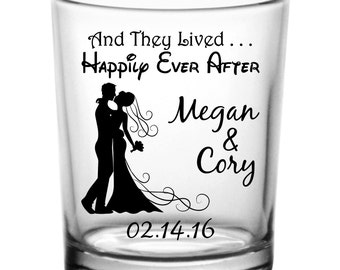 "144 Custom ""Happily Ever After"" Wedding Votive Shot Glass Candle Holders"