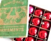 1950s Shiny Brite Glass Ornaments- Original Box- Vintage Shiny Brite Christmas Tree Ornaments- Red Pink Glass Christmas Ornaments- Decor