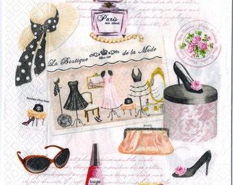 4 Decoupage Napkins | Haute Couture Paris High Fashion | Paris Napkins | Fashion Napkins | Party Napkins | Paper Napkins for Decoupage