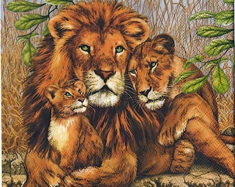 4 Decoupage Napkins | Lion Family | Wildlife Napkins | Africa Napkins | Lion Napkins | Paper Napkins for Decoupage | Napkin Decoupage