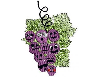 Grapes Machine Embroidery + pdf sewing patterns - Instant Download - zip file