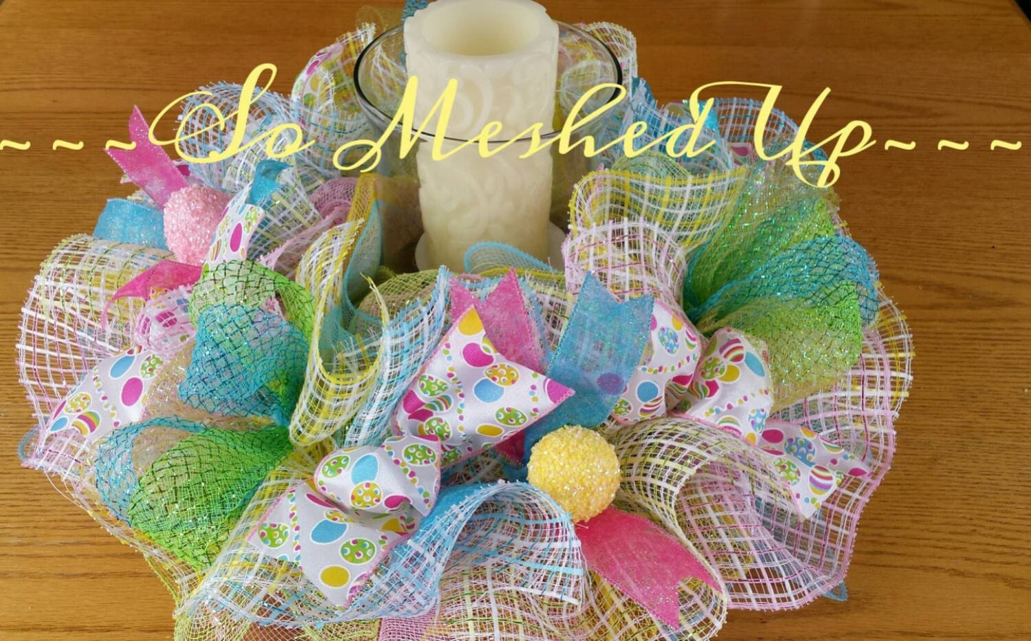 Pretty pastel Easter table deco mesh centerpiece/candle ring