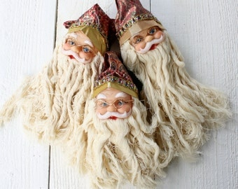 Vintage Santa Doll Heads- Set of Three