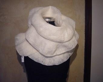 Nuno felted Handmade Scarf Wrap Multicolor Wool Silk Felt Neckwarmer OOAK Felt Gift