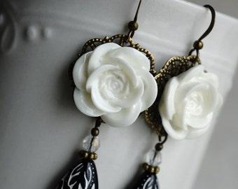 CLEARANCE 50% OFF Earrings, black and white resin flower dangle earrings.