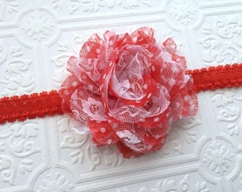 The Red Polka Dot Lacy Puff Headband or Hair Clip