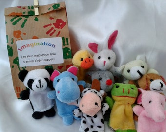 Animal finger puppet gift set - let your imagination flow, role play, gift for boy or girl, baby shower, new baby gift, birthday, christmas