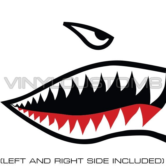 Flying Tigers Vinyl Decal Sticker Shark Teeth By Vinyicustoms