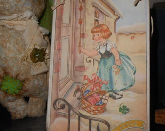 hanging wood sign french decor shabby chic Bonne annee postcard image kitsch young girl gift for her