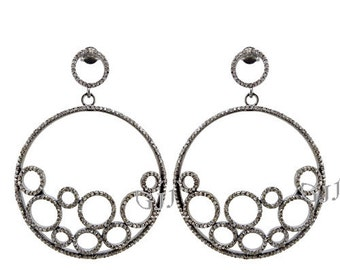 Pave Diamond Wedding Earring  Dangle Pave diamond Earring of Sterling Silver Studded with Natural Diamond
