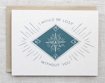 Lost Without You Screen Printed Card
