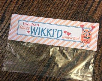 Valentine's Day Bag Tag - You're wikki'd awesome, personalized gift label