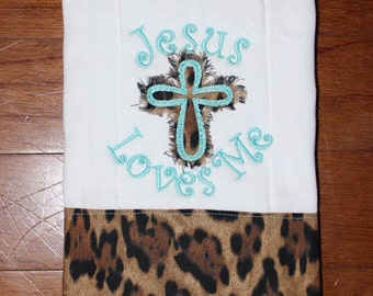 Jesus Loves Me Burp Cloth