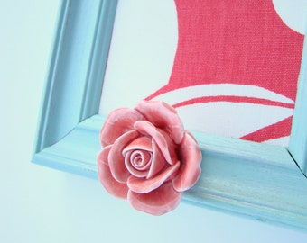 Framed Robins Egg Blue and Pink Memo Board With Rose Knob