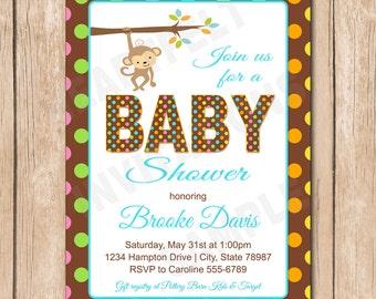 Monkey Baby Boy Shower Invitation | Polka dot - 1.00 each printed or 10.00 DIY file