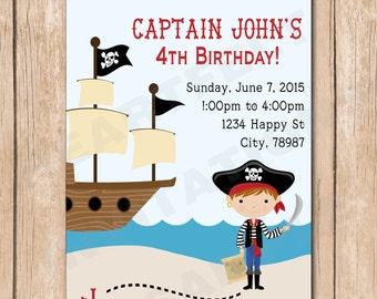 Boy Pirate Birthday Party Invitation - 1.00 each printed or 10.00 DIY file