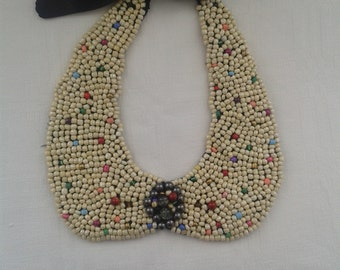 Light Gold Beaded Necklace with multicolor accents-Jewelry - Bead Embroidered necklace/ collar