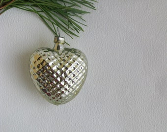 Soviet Christmas tree decoration, Silver Heart Christmas Glass Ornament - Made in USSR