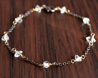 Dainty Herkimer Diamond Bracelet, Gold and Black Gunmetal, Mixed Metals, Clear Quartz Nugget, Gemstone Jewelry