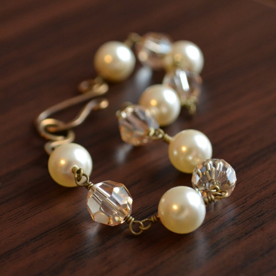 Ivory Pearl And Crystal Bracelet Bridal Wedding Jewelry