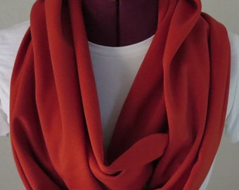 One infinity Scarf Made of Burnt Orange Solid Ponte de Roma Fabric. 7 x 70. Fall Winter Soft Drapable Fabric.