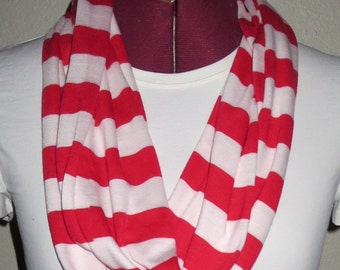Red and White Stripe Infinity Scarf. Lightweight Jersey Knit Eternity Scarf. 7W x 60L Accessorries