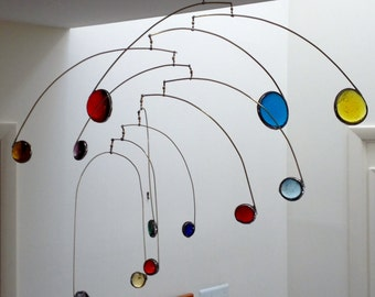 Modern Calder-Style Stained Glass Mobile - Waterfall Design