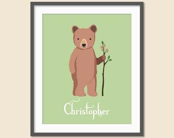 Woodland Nursery Name Print, Nursery Name Print, Woodland Nursery Art, Boys Bedroom Decor, Name Art, Woodland Bear