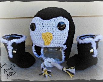 Penguin Hat with booties, Earflap Penguin hat with booties, Crochet Penguin hat and Booties
