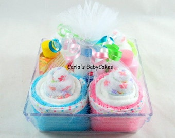 Infant Washcloth Cupcake | New Mom Gift | Baby Shower Gift | Baby Shower Decoration | New Baby Gift | New mom gift | Diaper Cupcakes